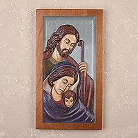Cedar relief panel, 'Pastoral Family' - Handmade Christian Cedar Relief Panel from Peru