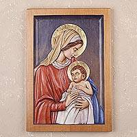 Cedar relief panel, 'Sacred Mother' - Hand-Carved Cedar Relief Panel of Mary and Jesus from Peru