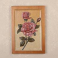 Cedar relief panel, 'Strawberry Roses' - Handmade Cedar Relief Panel of Strawberry Roses from Peru