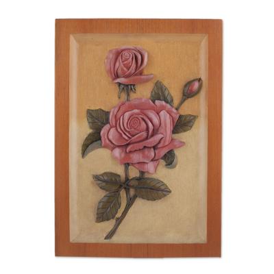 Cedar relief panel, 'Strawberry Roses' - Handmade Cedar Relief Panel of Strawberry Roses from Peru