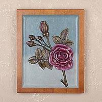 Cedar relief panel, 'Burgundy Roses' - Handmade Cedar Relief Panel of Burgundy Roses from Peru
