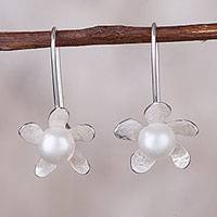 Cultured pearl drop earrings, 'Flower Glow' - Floral Cultured Pearl and Silver Drop Earrings from Peru