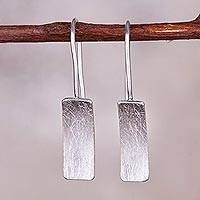 Sterling silver drop earrings, 'Simple Element' - Simple Sterling Silver Drop Earrings from Peru