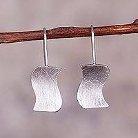 Sterling silver drop earrings, 'Simple Waves' - Wavy Sterling Silver Drop Earrings from Peru