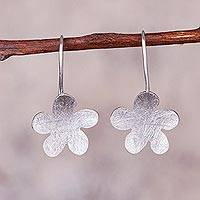 Sterling silver drop earrings, 'Little Clouds' - Abstract Sterling Silver Drop Earrings from Peru