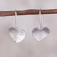 Sterling silver drop earrings, 'Lovely Touch' - Sterling Silver Heart Shaped Hook Earrings with Spiral