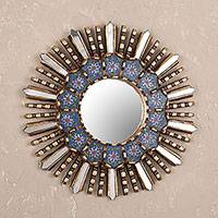 Wood and reverse painted glass wall mirror, 'Cuzco Blue' - Floral Reverse Painted Glass and Wood Wall Mirror