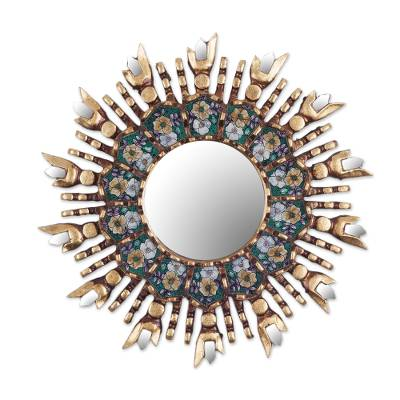 Wood and reverse painted glass wall mirror, 'Colonial Emerald' - Round Wall Mirror with Reverse Painted Glass Accents