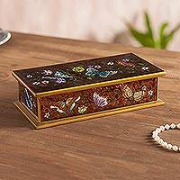 Reverse painted glass decorative box, 'Butterfly Jubilee in Sepia' - Reverse Painted Glass Butterfly Decorative Box in Sepia