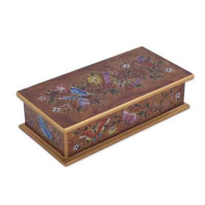 Reverse-painted glass decorative box, 'Butterfly Jubilee in Sepia' - Reverse-Painted Glass Butterfly Decorative Box in Sepia