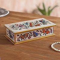 Reverse-painted glass decorative box, 'Butterfly Jubilee in Bone' - Reverse-Painted Glass Butterfly Decorative Box in Bone