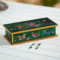 Reverse painted glass decorative box, 'Butterfly Jubilee in Emerald'