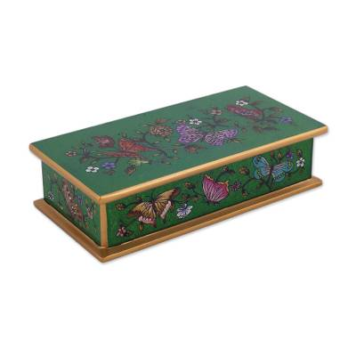 Reverse-painted glass decorative box, 'Butterfly Jubilee in Emerald' - Reverse-Painted Glass Butterfly Decorative Box in Emerald