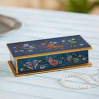Reverse painted glass decorative box, 'Butterfly Jubilee in Cyan'
