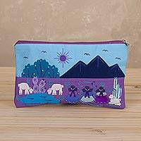 Cotton blend cosmetic bag, 'Andean Daybreak' - Purple and Blue Cotton Blend Cosmetic Bag from Peru