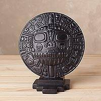 Serpentine sculpture, 'Echenique Sun' - Handcrafted Serpentine Stone Sun Sculpture from Peru