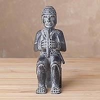 Serpentine sculpture, 'Chasqui with Flute' - Handcrafted Serpentine Music-Themed Sculpture from Peru