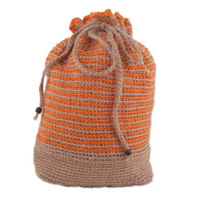 Adjustable Striped Jute Backpack from Peru