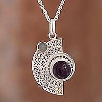 Amethyst and fluorite filigree pendant necklace, 'Stellar Harmony' - Amethyst and Fluorite Filigree Pendant Necklace from Peru