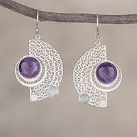 Amethyst and fluorite filigree dangle earrings, 'Stellar Harmony' - Amethyst and Fluorite Filigree Dangle Earrings from Peru