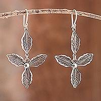Sterling silver filigree dangle earrings, 'Trimera Flowers' - Sterling Silver Filigree Floral Dangle Earrings from Peru