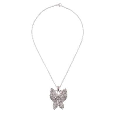 Sterling silver filigree pendant necklace, 'Nocturnal Butterfly' - Sterling Silver Butterfly Filigree Pendant Necklace