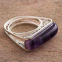 Amethyst filigree cocktail ring, 'Royal Pedestal' - Amethyst Sterling Silver Filigree Cocktail Ring from Peru