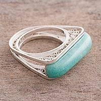 Amazonite filigree cocktail ring, 'Royal Pedestal' - Amazonite Sterling Silver Filigree Cocktail Ring from Peru
