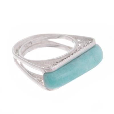 Amazonite Sterling Silver Filigree Cocktail Ring from Peru