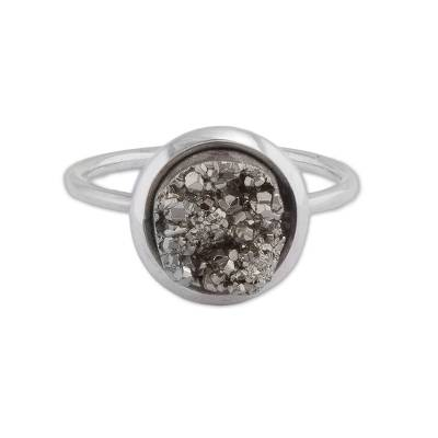 Pyrite cocktail ring, 'Rocky Mountains' - Natural Pyrite and Sterling Silver Cocktail Ring from Peru