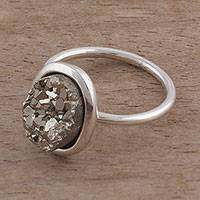 Pyrite cocktail ring, 'Rocky Plateau' - Oval Pyrite and Sterling Silver Cocktail Ring from Peru