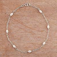 Cultured pearl anklet, 'Leisurely Walk' - Cultured Pearl and Sterling Silver Anklet from Peru