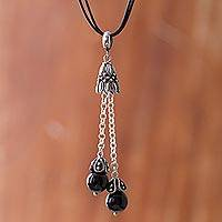 Obsidian pendant necklace, 'Berry Pendulums' - Dark Obsidian Gemstone Pendant Necklace from Peru