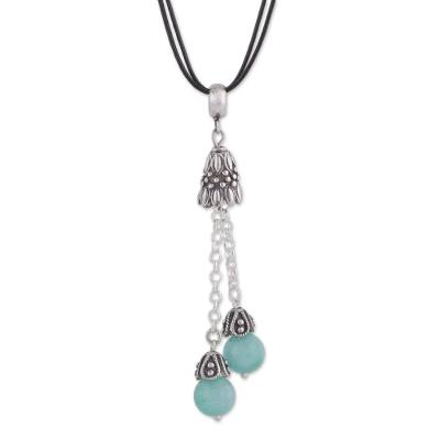 Natural Amazonite Pendant Necklace on Cotton Cord from Peru