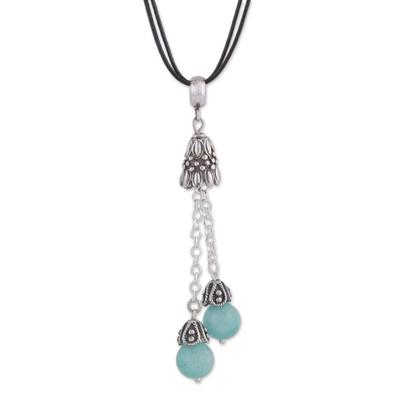 Amazonite pendant necklace, 'Berry Pendulums' - Natural Amazonite Pendant Necklace on Cotton Cord from Peru