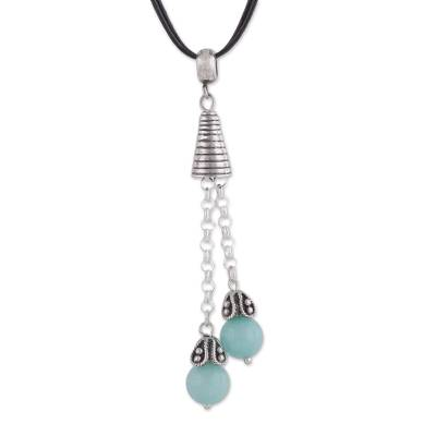 Amazonite pendant necklace, 'Floral Pendulums' - Amazonite Pendant Necklace on Cotton Cord from Peru