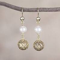Gold plated cultured pearl dangle earrings, 'Celebratory Globes' - 18k Gold Plated Cultured Pearl Dangle Earrings from Peru