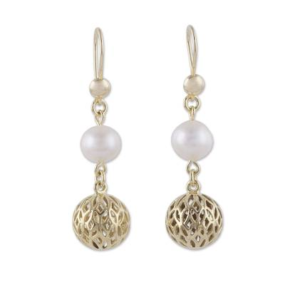 Gold plated cultured pearl dangle earrings, 'Celebratory Globes' - 18k Gold Plated Cultured Pearl Dangle Earrings from Peru