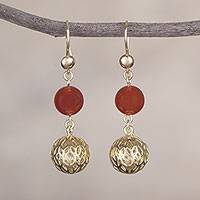 Gold plated agate dangle earrings, 'Celebratory Globes' - 18k Gold Plated Agate Dangle Earrings from Peru