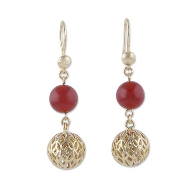 Gold plated agate dangle earrings, 'Celebratory Globes' - 18k Gold Plated Agate Dangle Earrings from Peru