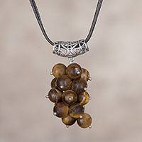 Tiger's eye pendant necklace, 'Grape Bunch' - Natural Tiger's Eye Cluster Pendant Necklace from Peru