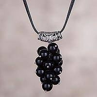 Obsidian pendant necklace, 'Grape Bunch' - Obsidan and Silver Cluster Pendant Necklace from Peru