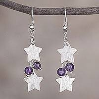 Amethyst dangle earrings, 'Racing Stars' - Amethyst and Silver Star-Shaped Dangle Earrings from Peru