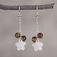 Tiger's eye dangle earrings, 'Blossom Glimmer' - Tiger's Eye Flower-Shaped Dangle Earrings from Peru