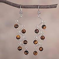 Tiger's eye chandelier earrings, 'Earthen Baubles' - Tiger's Eye and Silver Chandelier Earrings from Peru