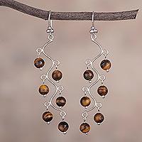 Tiger's eye chandelier earrings, 'Earthen Baubles' - Tiger's Eye and Silver Chandelier Earrings from Peru