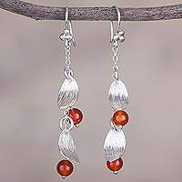 Carnelian dangle earrings, 'Tropical Glimmer' - Carnelian and Sterling Silver Dangle Earrings from Peru