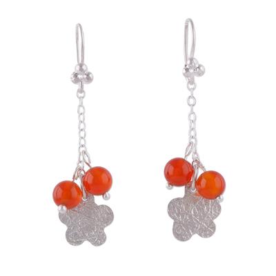 Carnelian Flower-Shaped Dangle Earrings from Peru