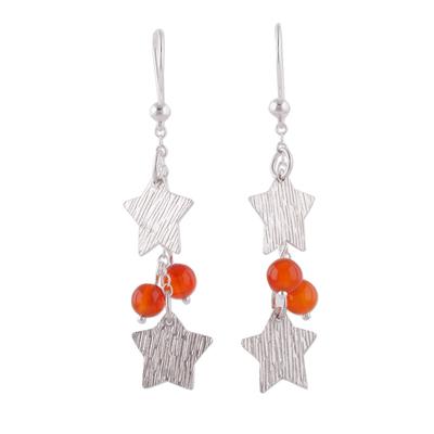 Carnelian and Silver Star-Shaped Dangle Earrings from Peru