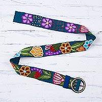 Wool belt, 'Garden Fashion in Teal' - Embroidered Floral Wool Belt in Teal from Peru